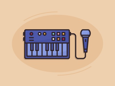 Making music beat sing keys mic midi keyboard music icon 2d flat vector design illustration