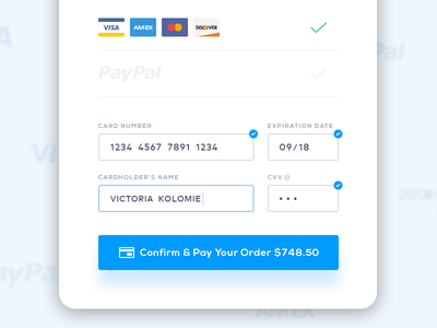 Choose your payment method credit card checkout paypal mastercard visa payment