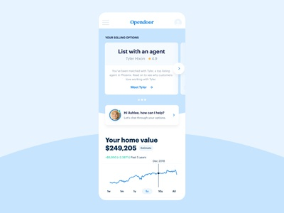 Opendoor Dashboard mobile chat home real estate dashboard