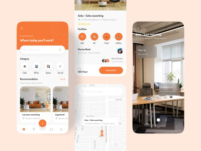 Co-Working mobile app ux app graphic design ui