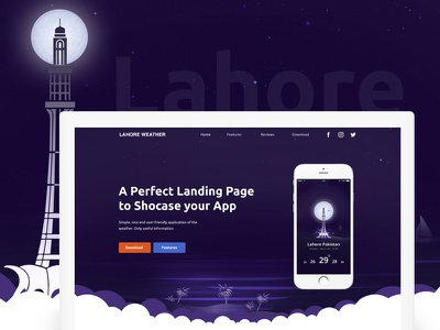 Lahore Weather Landing Page app colors icons weather lahore landing page