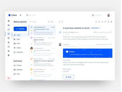 InTeam Inbox UI clean color palette blue message material gmail nav list inbox email mail web app ui