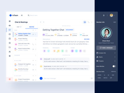 Meeting & Chat: InTeam_Team Management Dashboard video calling chatbot contact team chat calender schedule meetings chat app message chat branding web minimal design dashboard landing page template product website design web app