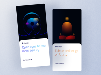 #OnBoarding_Exploration mobile ui mobile application dark minimal calm art meditation illustraion hero signup naksh naksh onboarding mobile apps mobile app design ui design mobile app