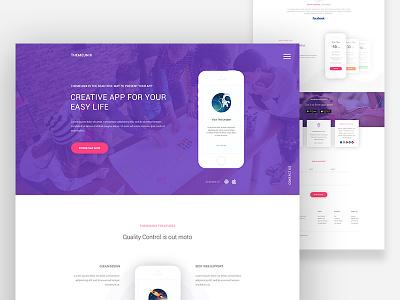 App Landing Page : Themeunix template web app website design creative material clean ux ui android ios landing page app