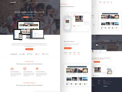 Multipurpose landing page : Themeunix template web app website design ux ui dashboard testimonial material clean landing page app multipurpose