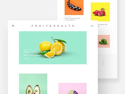 Minimal Blog Style template website web design concept fruit food ux ui colorful minimal blog post blog