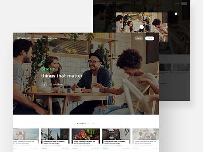 Thingser Landing page template web app website design clean live posts news blog social trending landing page ux ui