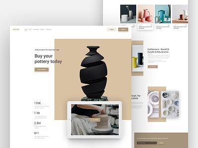 Potter Ecommerce Landing Page e-commerce website design template web app clay ceramics porcelain ui web earthenware landing page product
