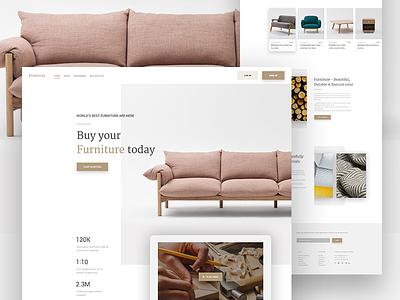 Furniture Ecommerce landing page ux ui template web app website design landing page e-commerce clean minimal product sofa furniture