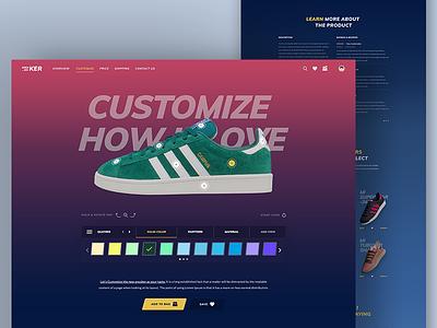 Sneaker Kicker Customize store sneaker shoes product oreo nike minimal landingpage customize gradient ecommerce adidas