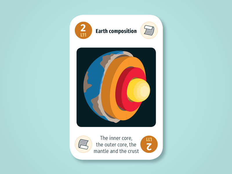 Diversity Deck – Lithosphere: Earth composition mantle core cross-section planet geology lithosphere maintenant science system earth sustainability product play game design card infographic illustration