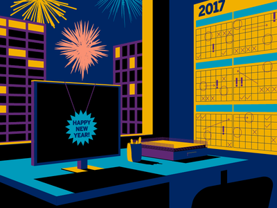 Happy New Year! calendar office fireworks holiday illustration