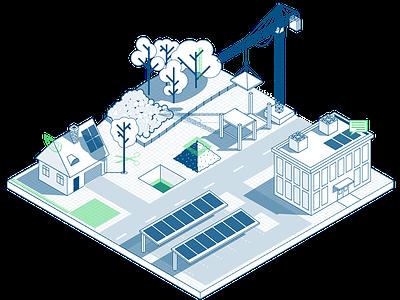 Scanifly building solar scenery isometric illustration
