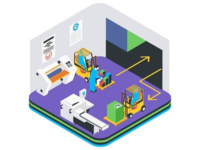 Express Encapsulation Icon warehouse forklift printing men at work illustration isometric design icon