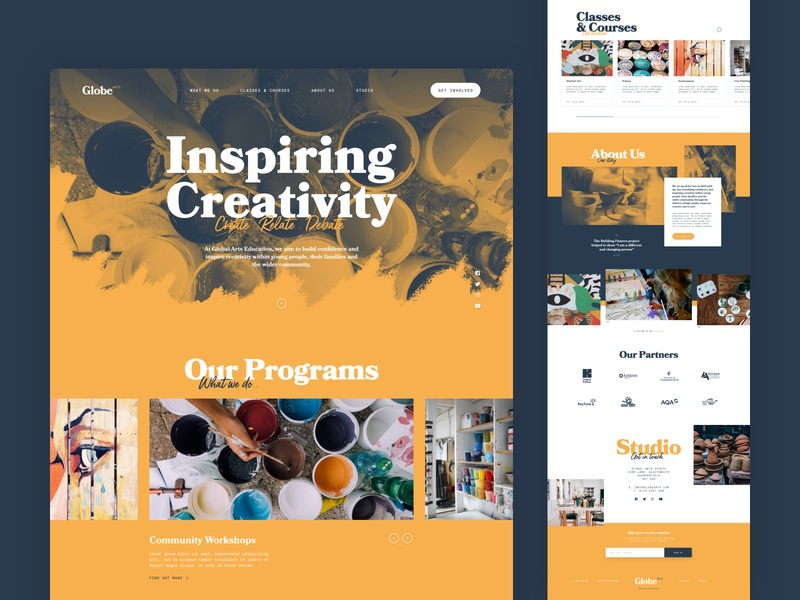 Globe Arts Studio concept redesign adobe xd typography web design design homepage