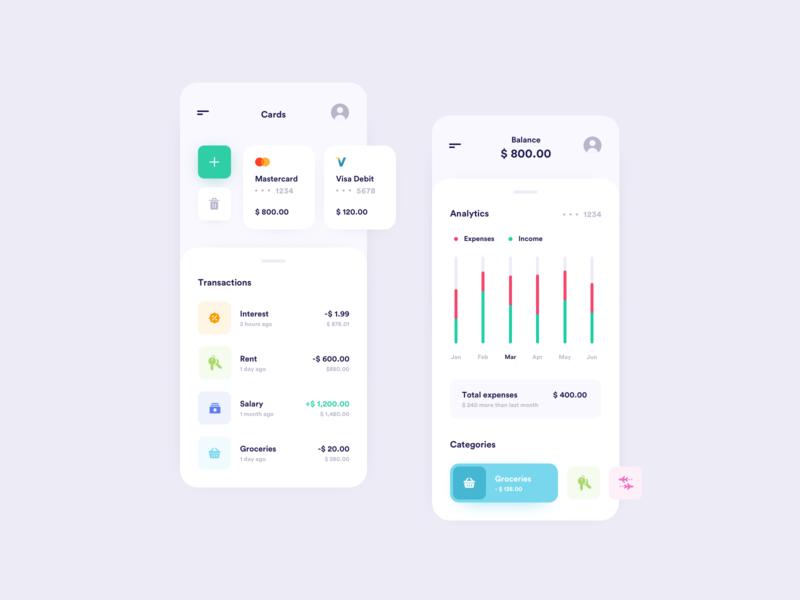 Personal Finance App finances finance app fintech dollar bank card card cash bank app personal finance simple minimal interface money finacial finance banking banking app bank