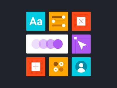 Designer Skill Set Illustrations skill set process design iconset icons illustration toolkit tools skills designers tiles minimal illustrations designer