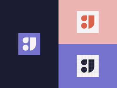 Geometric 'J' Lettermark shape logo design geometric minimal logo lettermark