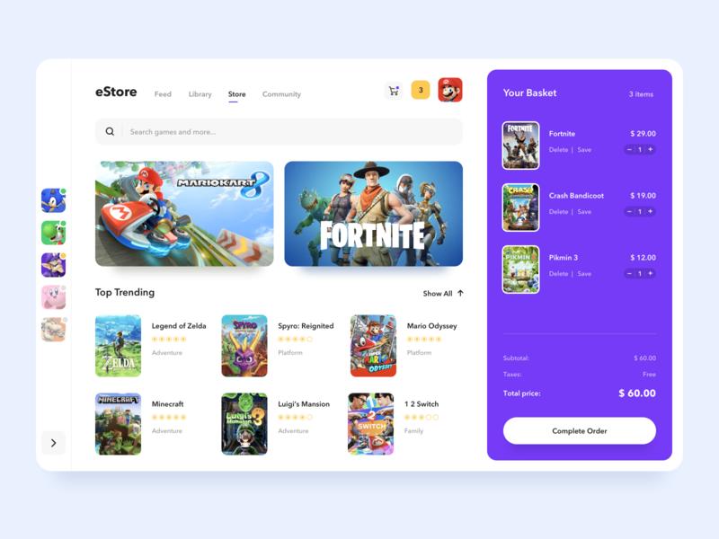 Video Game Store Interface nintendo estore videogames video games order interface shop store ui video game videogame