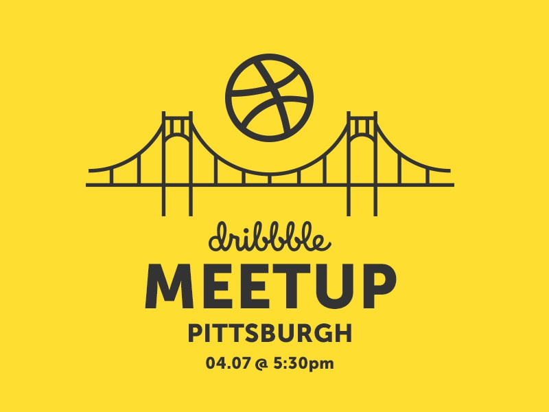 Dribbble Meetup Pittsburgh hosted by Andocia social designers black and gold andocia bridge illustration monoline pittsburgh dribbble meetup pittsburgh