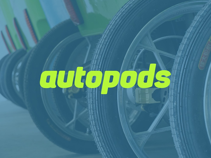 Autopods word mark logo green transportation green taxi pedicabs typography green eco friendly autopods