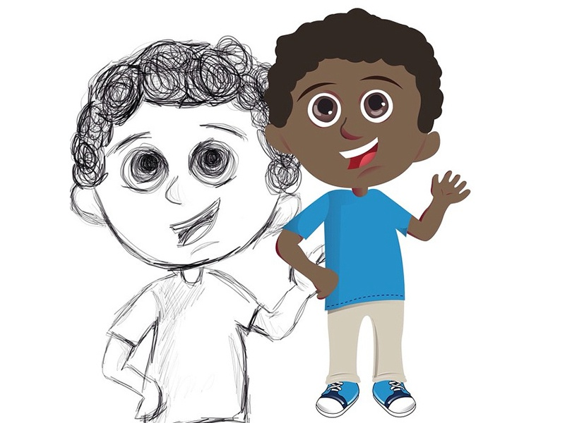 Coming To Life childrens book flat design african american boy cartoon kids book illustration boy