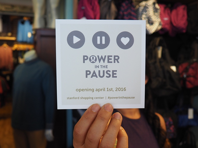 Power In The Pause campaign athletic wear grand opening lululemon