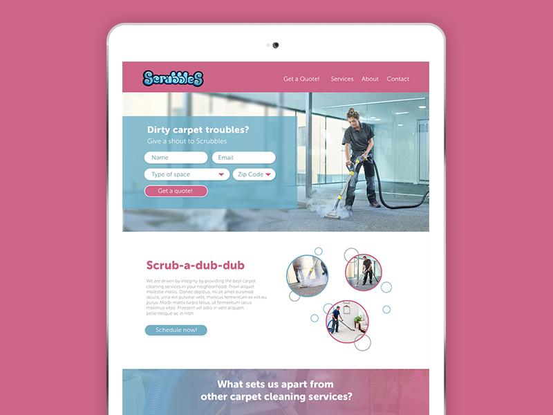 Dirty Carpet  Clean It Up turquoise brainstorm scrubbles pink bubbles carpet cleaning web design