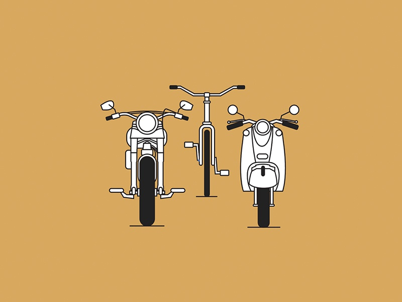 Commonplace Friends illustration bicycle moped monoline motorcycle website header commonplace website coffee