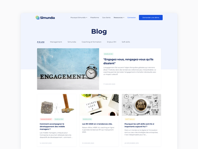 Simundia : Blog startup ux ui webdesign layout content card article blog interface design branding