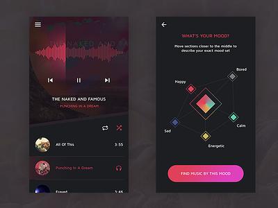 Music Mood Concept selection pink player ios app music mood ui
