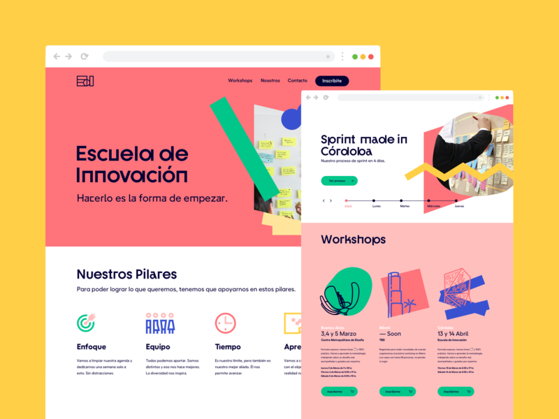 New website for Escuela de Innovacion mobile desktop bookings book website google sprint designsprint innovation strategic design pattern design ux ui design system strategy typography brand experience creative thinking