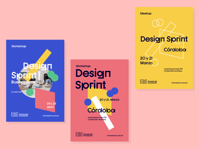 Posters for Escuela de Innovacion creative graphic design graphic print ux strategic design pattern creative thinking brand design system illustration strategy design brand experience