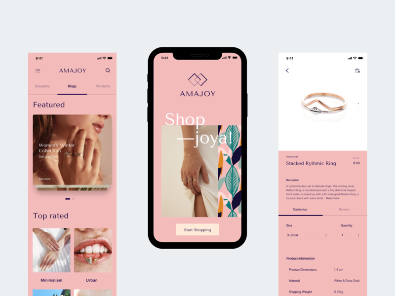 Amajoy Mobile Website jewelry typography ux ui design