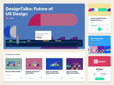 Modules and components for Webinarly webinar design app guideline design system creator box button cover recommendations ui  ux followers annotations profile card cards collection player video