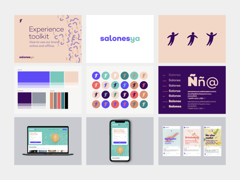 SalonesYa Brand and Experience toolkit design sprint sprint strategic design strategy social media ux ui poster typography pattern creative thinking brand experience design system logo illustration brand