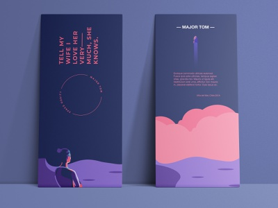 Major Tom to ground control david bowie major tom label illustration colourful vector flat design clean