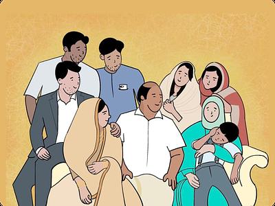 family illustration marriage family art illustration design