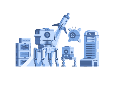 robot sketch illustraion flat vector