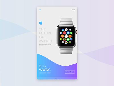 News App - Landing Screen blue product iwatch imac mac apple online ux ui landing app news