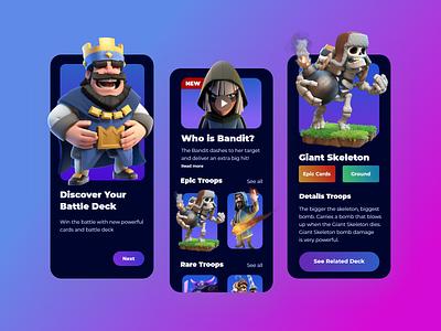 Battle Deck Guide Concepts - Clash Royale gradient graphic design uiinspiration colorful ui game uiuxdesign uiux mobileapps ux app
