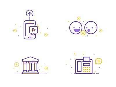 In-App Illustrations advertisement post refer contact bank in-app yellow purple illustrations