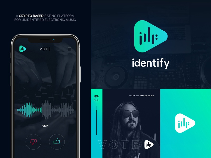 Identify branding & identity - discover and rate new music logo vector ui branding