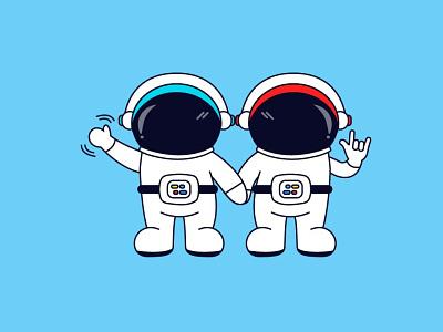 Astronaut Brothers vector illustration mascot illustration cute illustration cartoon design space illustration astronaut drawing illustration astronaut illustration