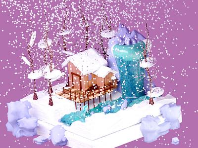 Winter scene low poly blender illustration 3d graphic design