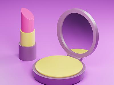 Makeup Kit design blender low poly illustration 3d graphic design