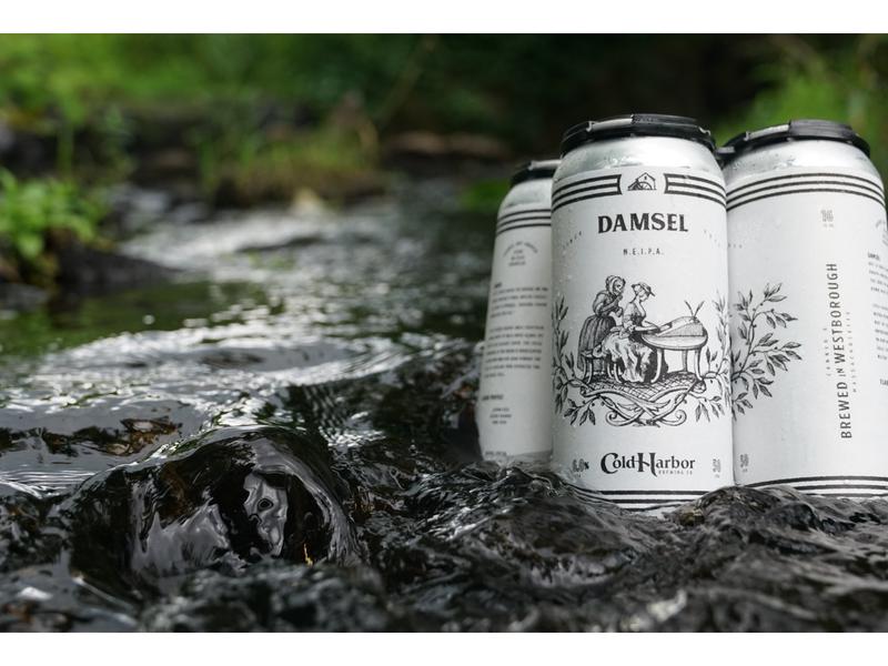 Cold Harbor Brewing Damsel NEIPA skull packaging lettering massachusetts logo beer typography boston illustration