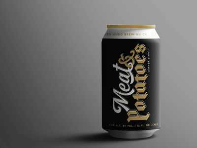 Lord Hobo Meat & Potatoes beer can packaging typography black letter blackletter craft beer beer boston