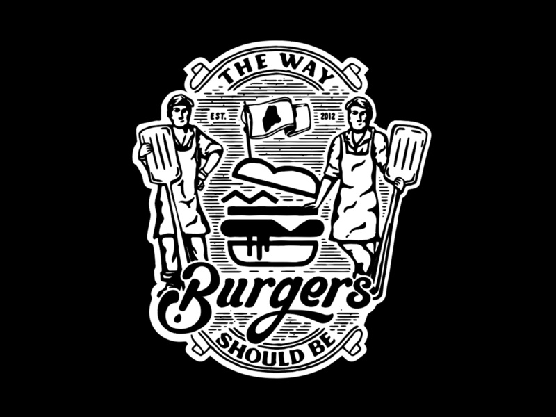 Mainely Burgers graphic cheese design lettering burgers beer massachusetts logo illustration boston